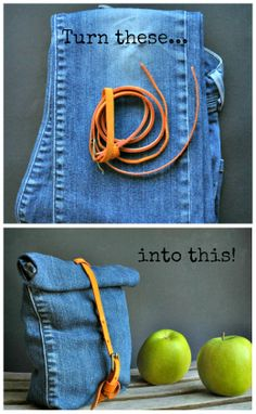 Turn old jeans into a reusable lunch bag / snack sack - Tutorial