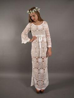 Crochet wedding dress. SEE-THROUGH crochet wedding dress.