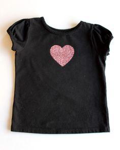 DIY Glitter Heart T-Shirt