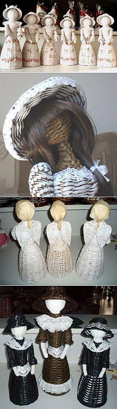 Платья из газетных трубочек