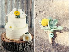Wood cake stand, white ranunculas, succulents, and yellow ranunculas cake flowers, succulent, billy ball and dusty miller boutonniere with a twine stem wrap and fun vintage button added.  Petal Pushers, Vista West Ranch, Coordinate This, Whitney Runyon Photography