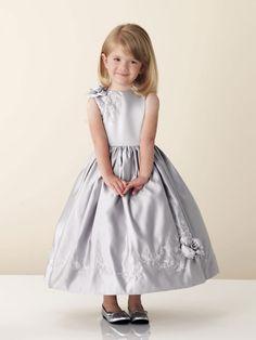 Bateau neck natural waist tea-length satin dress for flower girl
