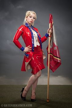 American Revolutionary Dress in Red Latex