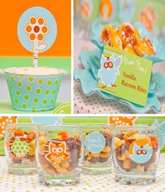 Owl theme party favors and decorations