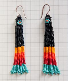 Native American Style Beaded Earrings by ziguidi on Etsy, $37.00