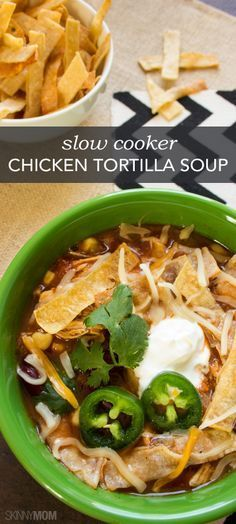 If you're looking for a good soup recipe, look no further! Here is a deliciously healthy version of chicken tortilla soup.