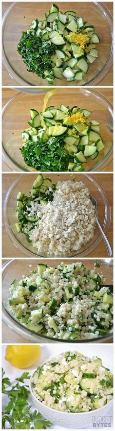 Lemony Cucumber & Couscous Salad...omit feta or use a vegan version