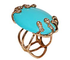 Slaim ring in rose gold with turquoise and diamonds by Luna Scamuzzi