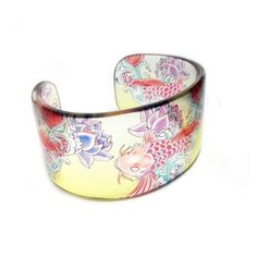 Tattoo Koi, Cuff, Graphic Clear Resin Bangle Bracelet
