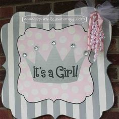 Message boards on pinterest hand painted canvas wooden for Baby shower front door decoration ideas