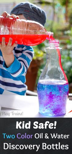 Kid Safe Two Color Oil and Water Discovery Bottles from Play Trains!