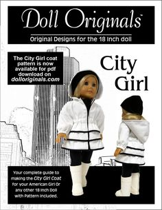 The new City Girl Coat Pattern by Doll Originals is now available for pdf download on dolloriginals.com doll pattern