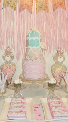 Shabby Chic Birthday Party dessert table!  See more party planning ideas at CatchMyParty.com!