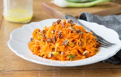 Shredded Carrot Salad with Candied Pecans Recipe - Momtastic #MeatlessMonday