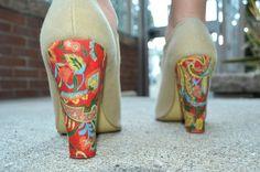 DIY floral print heels ~ paper, newspaper, fabric glue, modge podge, sponge brush
