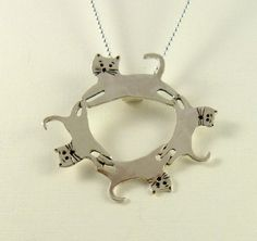 Cat Sadie And Her Kittens - Up Cycled Sterling Silver - Echo Friendly - Art Jewelry Pendant - 1280