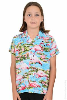 Popular boys hawaiian shirt - Flamingo in Turquoise. We have a large range of this print for the whole family or group to match. Wicked shirt for casual, skating, book week, cruising, beach party, luau, fancy dress or halloween! #boyshawaiianshirt #cruiseshirt #luauparty #flamingoshirt #flamingoparty #christmasshirt #tackytourist #loudshirt #flamingo #blueshirt #boysflamingoshirt #matchymatchy