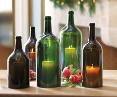 big bottl, italian wine, christmas decorations, candles, bottl candl, easi entertain, bottl hurrican, wine bottles, table centerpieces