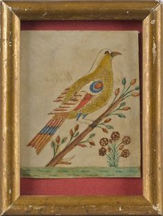 Sold $950  Small Pennsylvania watercolor and ink on paper fraktur drawing of a bird perched on a leafy tree branch, inscribed verso Susanna Hiller 1836...