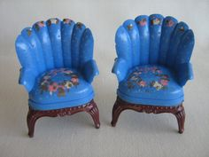 Vintage Dollhouse Wingback Chairs Blue w/ Hand by TheToyBox, $25.00