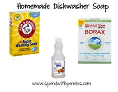 Homemade Dishwasher Detergent     Dishwasher Detergent is expensive, and if you have a large family you will go through tons each month.  Making homemade Dishwasher Detergent is super easy and really cheap.  Be sure to add any extra tips you have in...