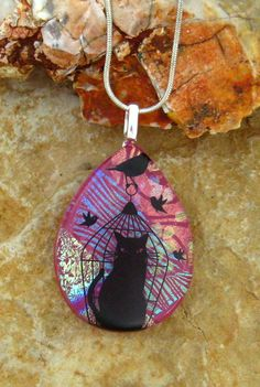 Cat Pendant Glass Cat Necklace Pink  Dichroic Fused by GlassCat, $22.50