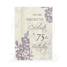 Purple Floral 75th Birthday Party Invitation Cards