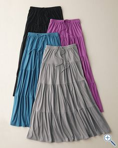 Knit Tiered Beach Skirt from Garnet Hill. (Love long, loose skirts in the summer.)