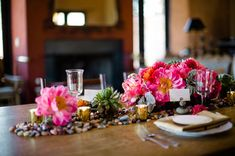 peony and succulent  tablescape