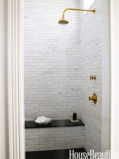 Grove Brickworks tile and Henry showerhead