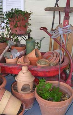 gather up every terra cotta pot I have and fill the wagon