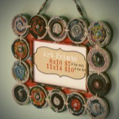Picture frame made from recycled magazine. Lots of other good recycled magazine ideas too!