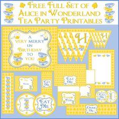 Free Alice in Wonderland party printables #free @aliceinwonderland #party #birthday #printables
