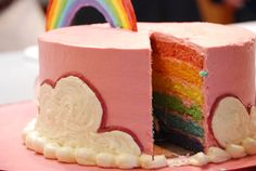 Rainbow cake layers little girls, girl birthday, pink cakes, rainbow cakes, kid birthday cakes, kid birthdays, cake recipes, gold coin, parti
