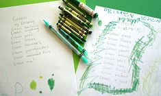 A green poem for Earth Week, April 16 to Earth Day on April 22 for 2012. Only green crayons on the craft table.