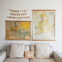 decorating a new apartment, wall art, living rooms, wall displays, wedding songs, vintage maps, world maps, homes, banner