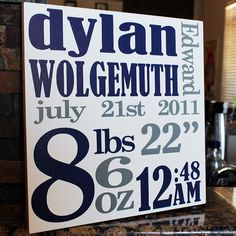 Birth Announcement Wall Art  Perfect Baby Gift  by dumbdogdesigns, $35.00