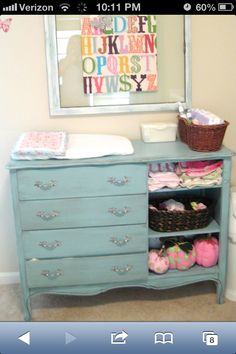Shabby chic changing table from dresser