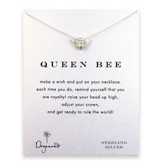 queen bee reminder necklace with sterling silver bee