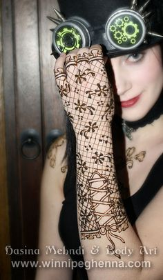 steampunk lace glove henna