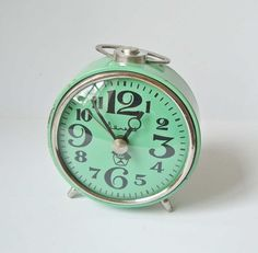 Vitjaz turquoise vintage Soviet mechanical alarm clocks