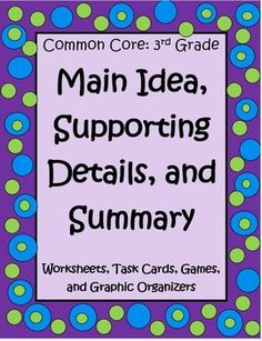 Loads of worksheets, task cards, and graphic organizers to help you teach Main Idea for 3rd Graders! $