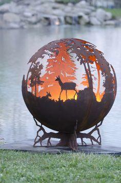 Up North Round Custom Fire Pit Art: Moose Deer Duck Designs how cool outdoor fires, yard, outdoor fire pits, up north, art, scene, firepit, garden, deer