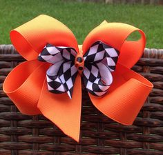 Halloween Hair bow - orange, black, white on Etsy, $8.00