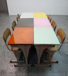 vintage desks recoated in epoxy gloss.