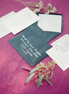 wedding invitations with black envelopes, photo by Adam Barnes http://ruffledblog.com/ralph-lauren-inspired-shoot #weddinginvitations #stationery