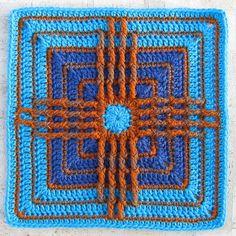 Crochet square - Zia Sun Symbol