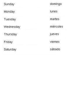 Spanish Words for Days of the Week - Learn Spanish