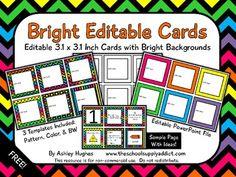 Bright Editable Cards {Freebie}