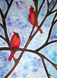 Watercolor Cardinals